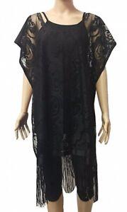 de153d187f8cf Women Black Sheer Lace Loose Fit Poncho Blouse Cover Up Top Fringes ...
