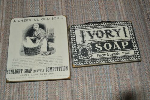 """Vintage Wall placque decor /""""A Cheerful Old Lady/"""" and /""""Ivory Soap/"""""""