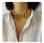 Hip Hop Rock Curb Thick Choker Necklaces Collar Chunky Metal Necklace Bracelet
