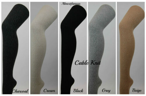 Details about  /Girls Women Wool Over Knee Winter Warm Socks Thigh-Highs Stockings Cable Knit UK