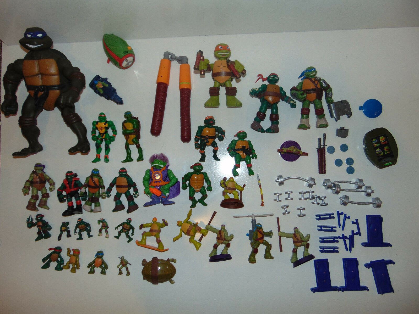 HUGE Vintage TMNT LARGE & Mini FIGURES Teenage Mutant Ninja Turtles Lot Barbells