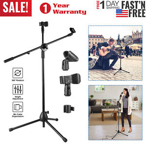 360-Rotation-Microphone-Stand-Avec-Double-Microphone-Clip-Boom-Bras-pliable-support-de-trepied