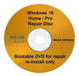 Details about Windows 10 Repair Recovery Reinstall Disc 64bit Home Pro  Latest Version 1903 DVD