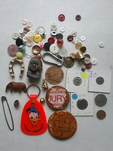 Antique Vintage Junk Drawer Lot Misc Fun Stuff Donald Duck Keychain Thimble Ebay