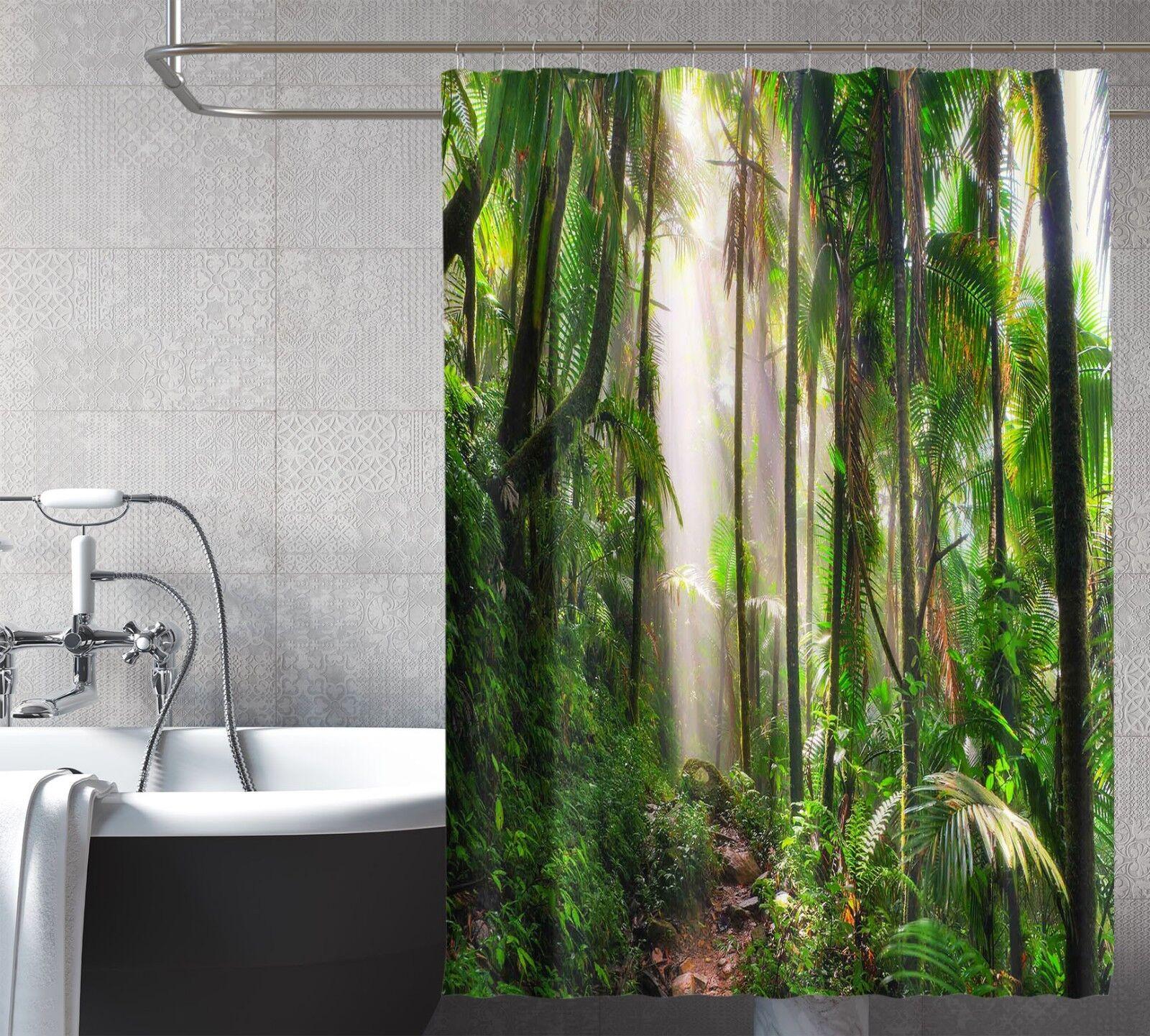 3D Tropischer Wald 8 Duschvorhang Wasserdicht Wasserdicht Wasserdicht Faser Bad Daheim Windows Toilette 63a520