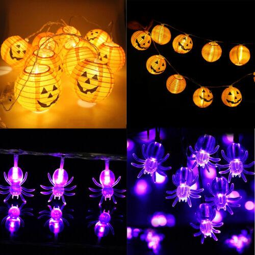 Halloween DEL Lumières citrouille lanterne araignées Batterie basseSon Chambre Décoration Prop