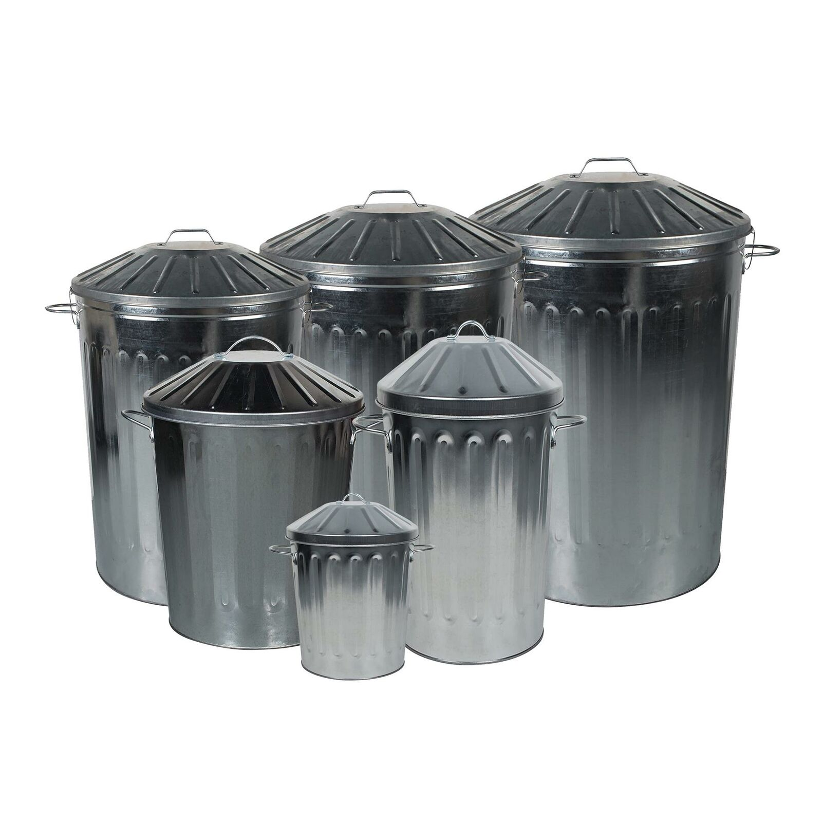 Galvanised Metal Bins & Lids - Choose from 15L, 18L, 40L, 60L, 90L & 125L Sizes.