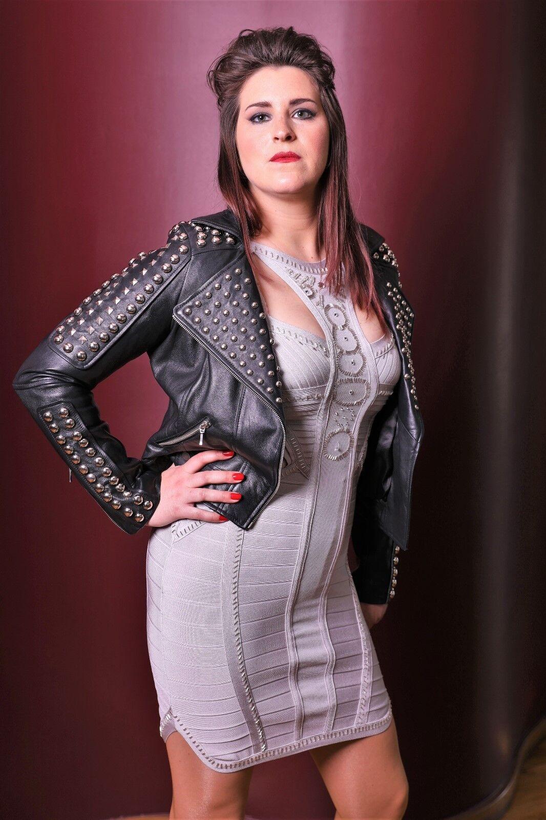 Stretch Kleid - Partykleid Clubkleid silber-grau DaMänner -B Ware-  45 % rotuziert