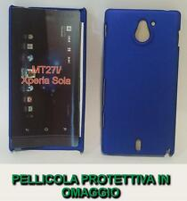 Pellicola + custodia BACK cover RIGIDA BLU per Sony Xperia sola MT27i