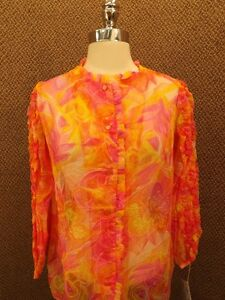 Festival-Fun-Vtg-60s-NOS-NEW-Bright-Sheer-Nylon-Ruffled-Sleeve-Shirt-M-Hippy-Mod