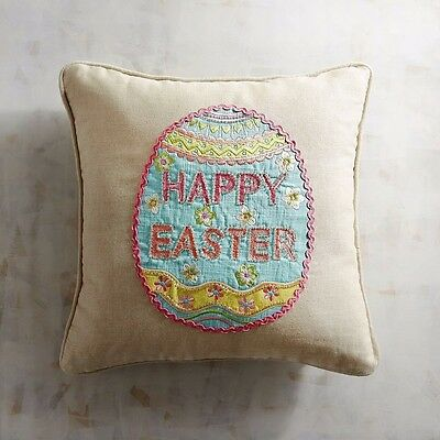 Happy Easter Egg Decorative Pillow Appliqued And Embroidered Ebay