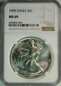 1990-American-Eagle-999-Pure-Silver-Dollar-NGC-MS69-MINT-STATE-69