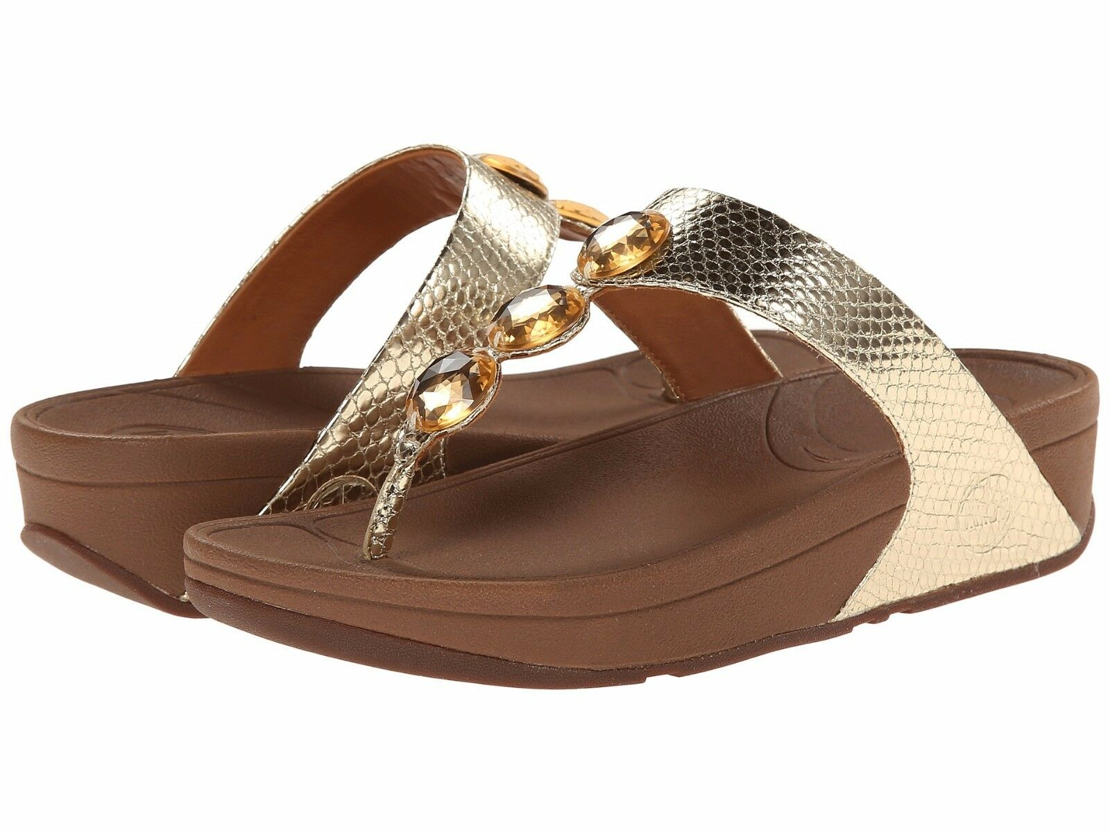NEW FITFLOP SANDALS WOMEN Sz8US PETRA JEWELED SANDALS FITFLOP LEATHER PALE GOLD 023e5a