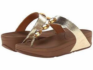00a291788 Image is loading NEW-FITFLOP-WOMEN-Sz8US-PETRA-JEWELED-SANDALS-LEATHER-