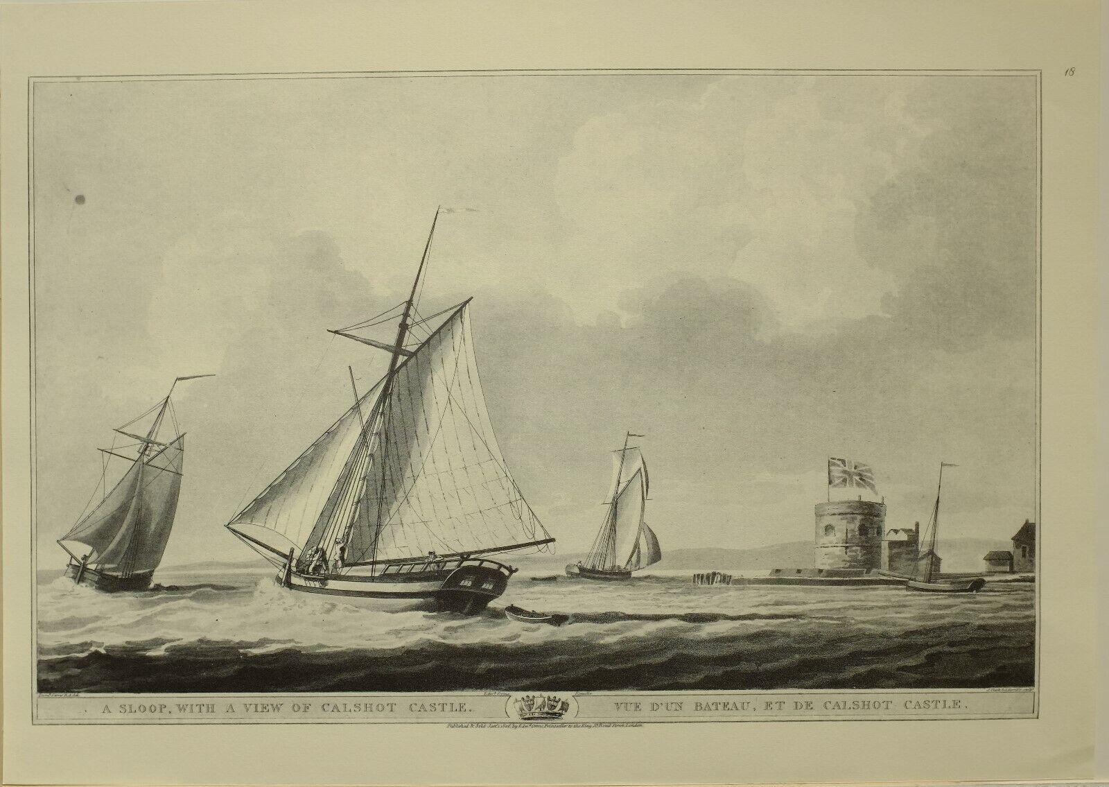 1805 Marine Aufdruck Kussensloop View Of Calshot Castle  1979 Faksimile Liber