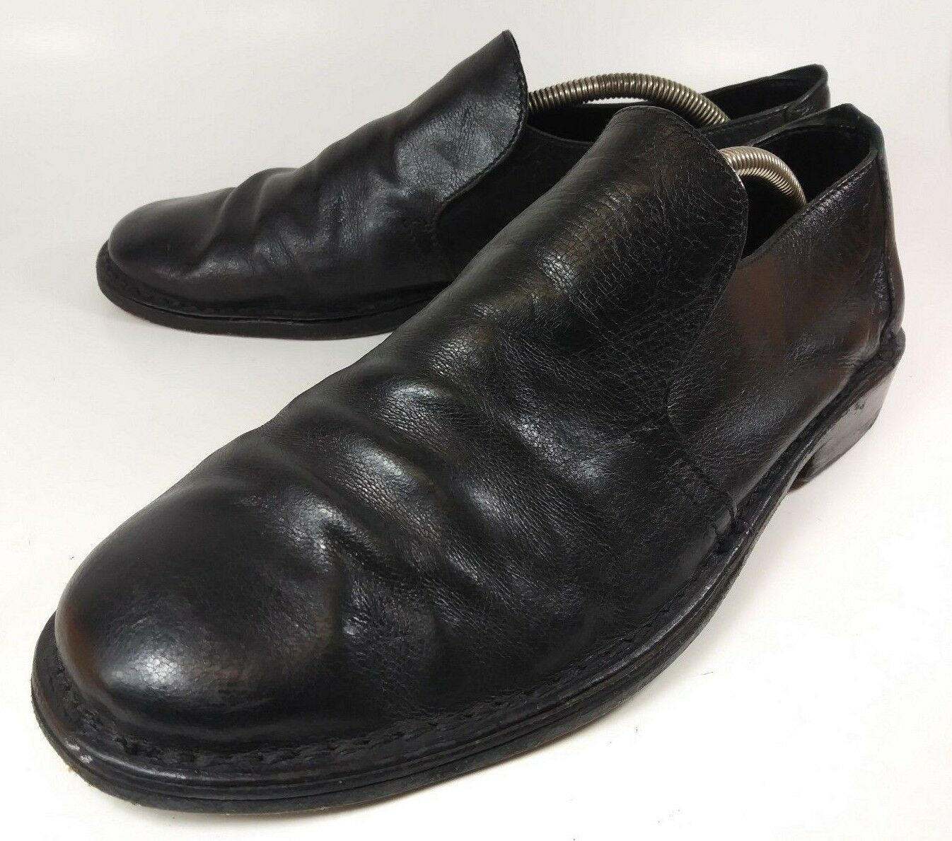 D Lepori Mens Shoes Loafers 2612 US 10.5 Black Leather Slip-On 1446