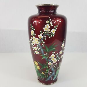 Large-Japanese-Sato-Style-Cloisonne-Vase-11-034-High-Pigeon-Blood-Cherry-Blossom
