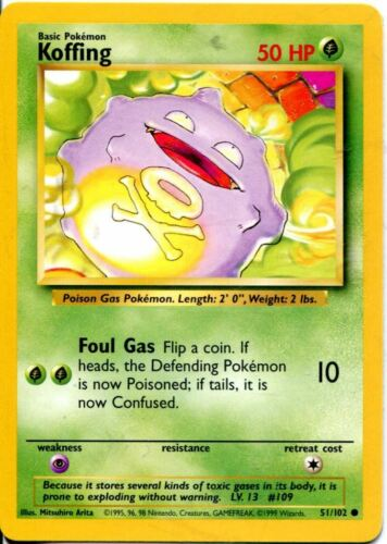 Pokemon Base Set Common Card #51//102 Koffing
