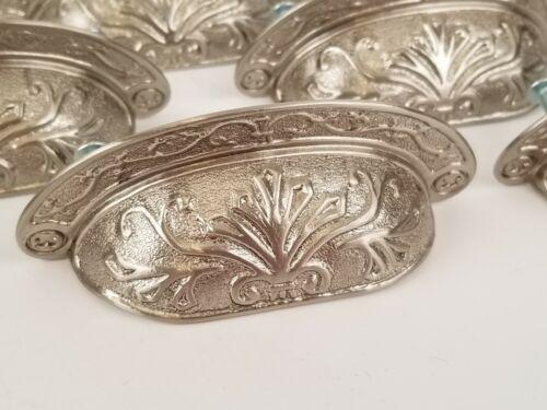Ornate Detailed Brushed Nickel Drawer Pull Vintage Style Cup Bin Pull