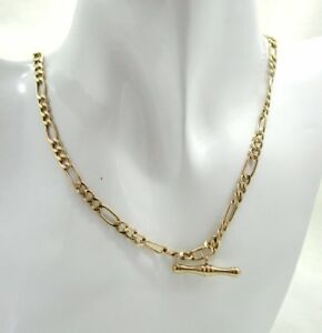 Very-Nice-9-Carat-Gold-Figaro-Link-And-T-Bar-Albert-Neckchain