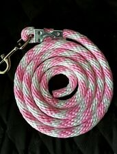 Horse Nylon Lead Rope 70 inches with steel  Swivel Snap -pink/white CANDY CANE