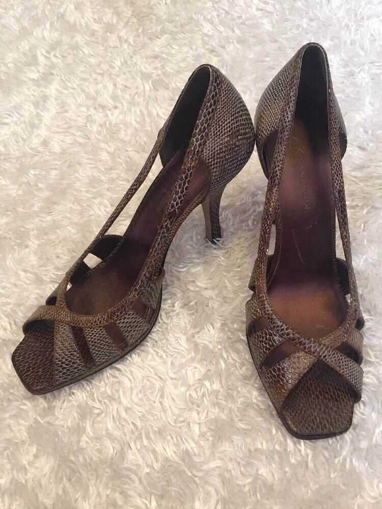 Anne Open Klein Size 7.5 M Open Anne Toe High Heel Sandals Shoes Brown Print Leather 4559b2