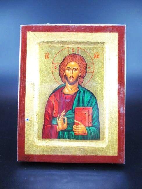 Ikone, Byzanz, Jesus Christus, 18 cm Ikone Griechenland Massivholz, Neu