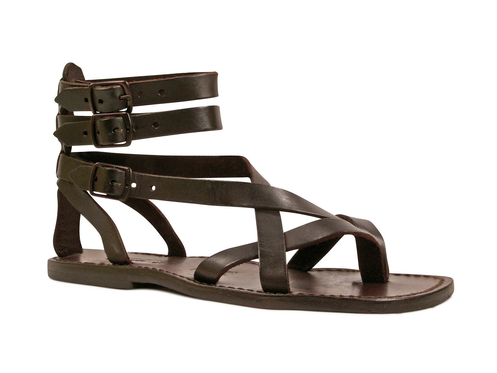 brand new ee784 d1602 Handmade gladiator sandals for men Made in in Marronee real genuine leather  5a8ed4