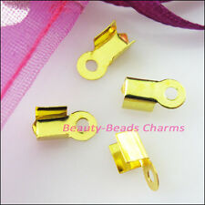 150Pcs Fold Over End Cord Crimp Bead Caps 4x9mm Gold Silver Dull Bronze Plated