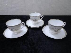 3X-Antiguo-Porcelana-Taza-4X-Platillo-Vintage-Um-1900