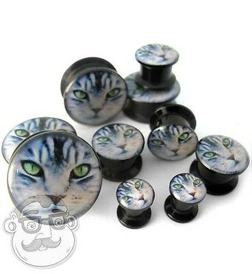 Pair of Kitty Cat Plugs (2G - 20mm) Pick Your Ear Gauge Size - New!