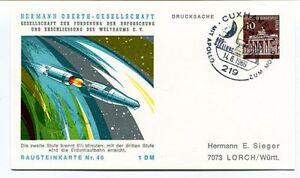 1969 Hermann Oberth Gesellschaft Weltraums Cuxhaven 1 Drucksache Bausteinkarte46