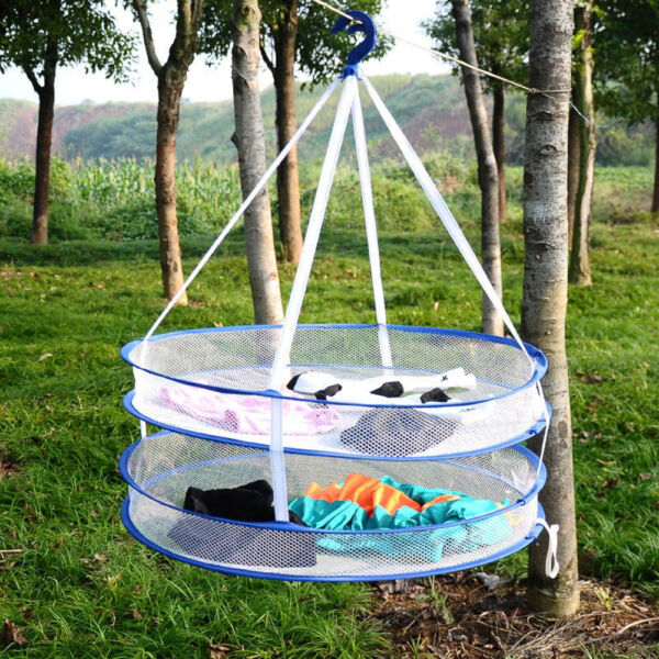 Useful 2 layers Drying Rack Hanging Clothes Laundry Sweater Basket Dryer Net