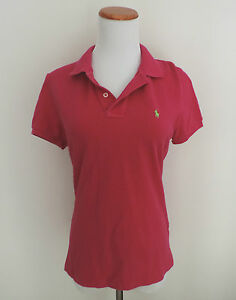Women-039-s-Ralph-Lauren-Pink-Fitted-The-Skinny-Polo-Shirt-Size-Medium