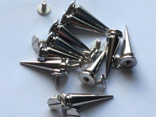 50 Espigas Cono screwback plata de níquel Punk Remache las bolsas de cuero artesanales 10x29mm
