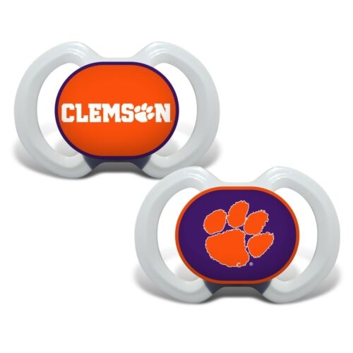 Clemson Tigers Pacifiers 2 Pack Set Infant Baby Fanatic BPA Free NCAA University