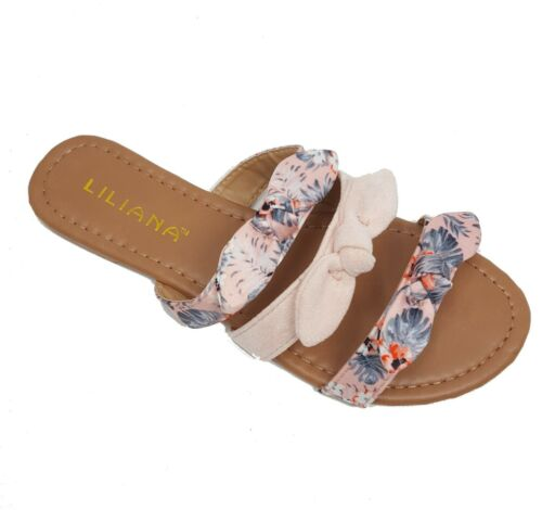 Womens Knotted Striped Floral Bow Slide Sandals Plaid Print Slip-On Shoes 6-11