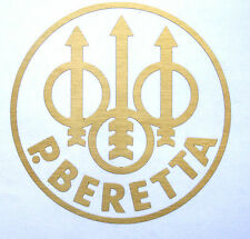 "Beretta Gun logo decal Firearms brushed brass size 5"" round metallic"