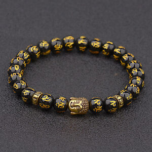 Natural-Gold-Silver-Buddha-Obsidian-Carved-Buddha-Lucky-Amulet-Beads-Bracelets