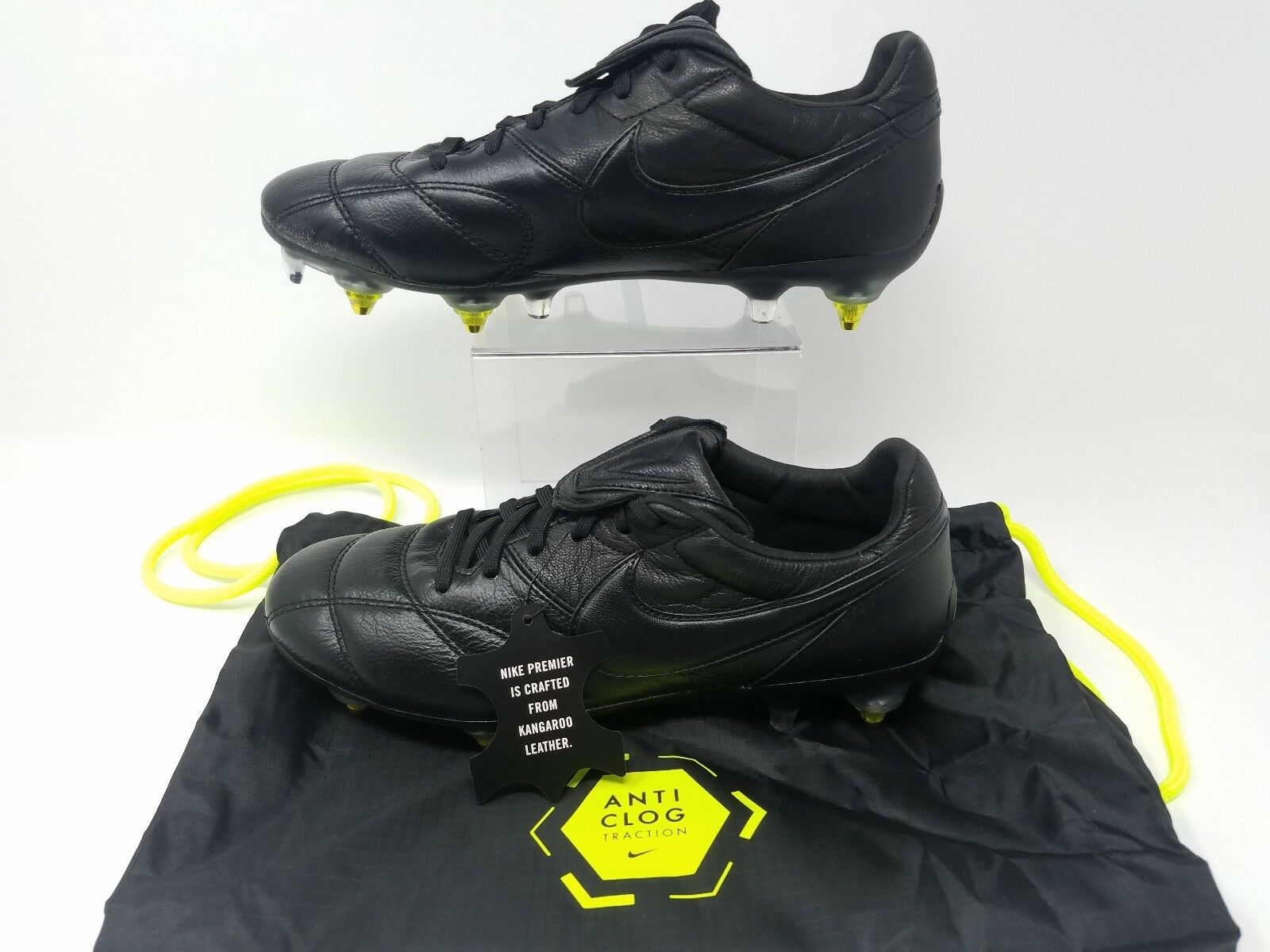 Nike Premier II SG AC Leather Leather Leather Soccer Cleats Sizes 7 Triple Black 921397-003 fb6923