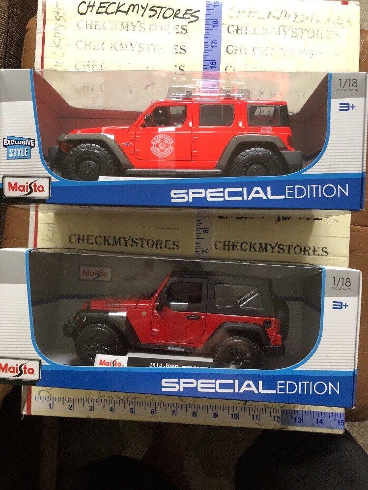 2 maisto échelle 1 18 Jeep Wrangler, Rescue Concept tactique, 2014 Wrangler