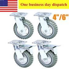 4pcs Heavy Duty Industrial Rubber Caster Wheels 4 6360 Swivelball Bearing
