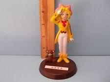 "Sakura Taisen Iris Chateaubriand 4""in PVC Figure in Yellow Suit Saluting w/Bear"