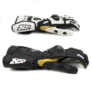Mens-Motorcycle-Racing-Leather-Gloves-Sport-Bike-Track-Race-Black-White-IXS-RX-4