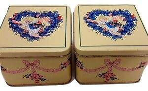 Pair of Square Yellow Collectible Tins w/ Angels Flowers Ribbons Applause Inc.