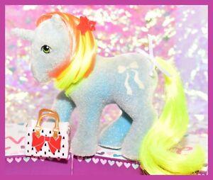 My-Little-Pony-MLP-1985-G1-Vtg-Unicorn-So-Soft-SS-RIBBON-Flocked-Yellow-Mane