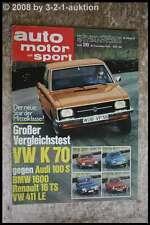 AMS Auto Motor Sport 26/70 BMW 2800 Alpina Audi 100 S VW 411 LE