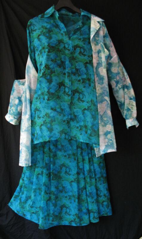 3 Teiler Vintage Tunika Bluse Hemd Blazer Jacke Rock Retro Top Set Kleid Kostüm