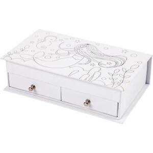 White-Cardboard-Jewellery-Box-Mermaid-Printed-Christmas-Decor-Crafts-18x10-5-cm