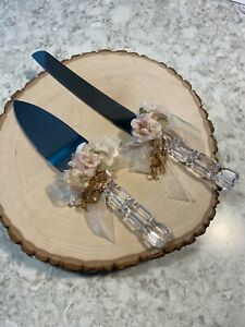Beaded Victorian Style Wedding KNIFE & SERVER SET w/Satin Flower & Organza Bow